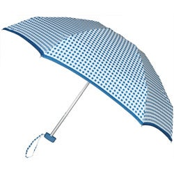 Leighton 41-inch Blue Checkered Compact Umbrella