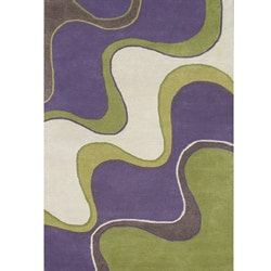 Hand-tufted Large Waves Purple Wool Rug (5' x 8')
