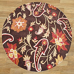 Hand-tufted Metro Flower Brown Wool Rug (6' Round)