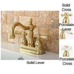Restoration Polished Brass 4 Inch Center Bathroom Faucet