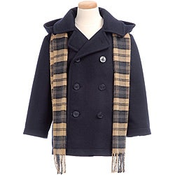 Trilogi Collection Toddler Boy's Navy Wool-blend Hooded Peacoat