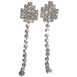 Detti Originals Silvertone Clear Crystal Clip Dangle Earrings