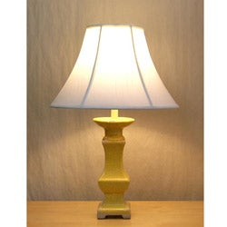 Distressed Yellow Ceramic Table Lamp