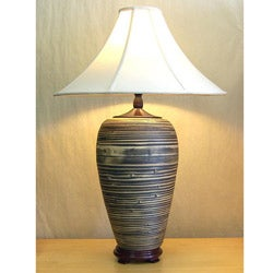 Black and Tan Bamboo Beige Linen Shade Table Lamp