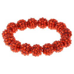 Red Acrylic Crystal Stretch Bracelet