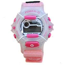 Power G Perfect Time Light Pink Alarm Chronograph Hook and Loop Strap Watch