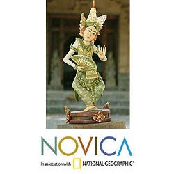Handcrafted Crocodile Wood 'Legong Kraton Dance' Sculpture (Indonesia)