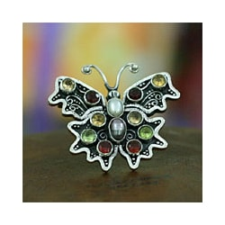 Sterling Silver 'Fly' Multi-gemstone Pearl Brooch (4-5 mm) (Indonesia)