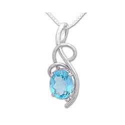 Sterling Silver 'Blue Sky' Topaz Necklace (India)