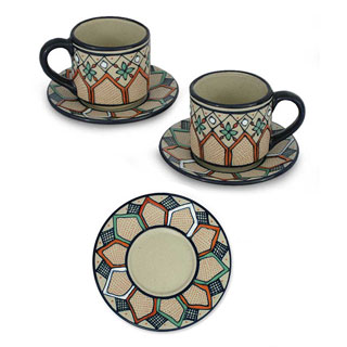Set of 2 Ceramic 'Coffee Bouquet' Espresso Cups (Mexico)