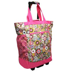 Olympia 20-inch Pink Tulip Rolling Polyester Top-loading Shopper Tote