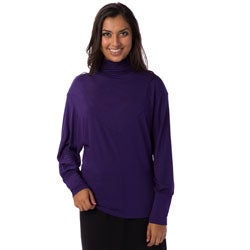AtoZ Women's Batwing Ruched Turtleneck Top