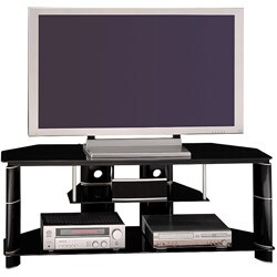 Bush Furniture High Gloss Black Segments Collection TV Stand