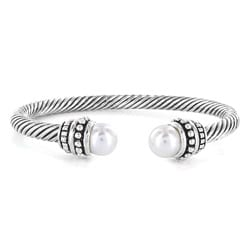 Silverplated Created Pearl Cuff Bracelet