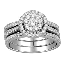 10k Gold 1ct TDW Diamond Halo Imperial Bridal Ring Set (H-I, I2-I3)