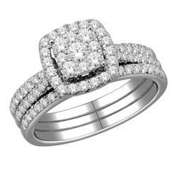 10k White Gold 1ct TDW Diamond Imperial Bridal Halo Ring Set
