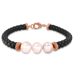 Miadora Goldtone Pink Freshwater Pearl Leather Bracelet (9-10 mm)