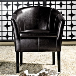Abbyson Living Trianna Black Bonded Leather Club Chair