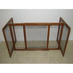 Crown Pet Chestnut Brown Wood and Wire Pet Gate (27 to 48.75)