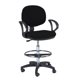 Martin Stanford Black Padded Wheeled Steel-frame Drafting Chair