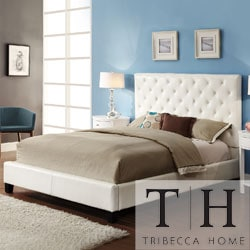TRIBECCA HOME Sophie White Vinyl Tufted Full-size Platform Bed