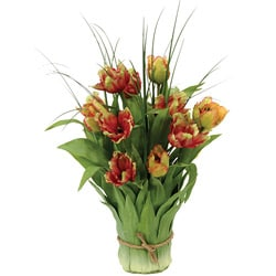 Multicolor 19-inch Tulips in Leaf Vase