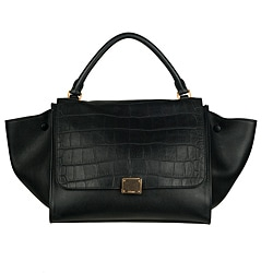 Celine Black Leather Trapeze Shoulder Bag