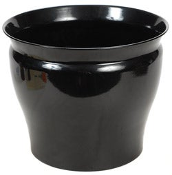 Shiny Black Metal 16-inch Planter (Set of 2)