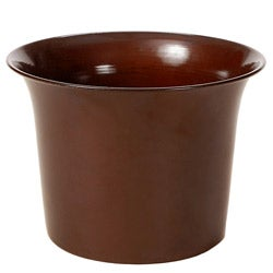 Shiny Carmel Metal 16-inch Flared Planters (Set of 2)