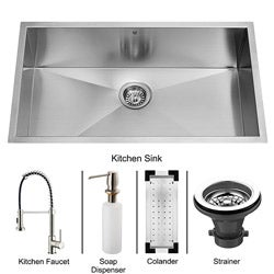 Vigo Undermount Stainless Steel Kitchen Sink/ Faucet/ Colander/ Strainer/ Dispenser