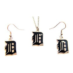 Detroit Tigers Necklace and Dangle Earring Charm Set