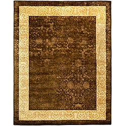 Handmade Majestic Chocolate/ Light Gold N. Z. Wool Rug (6' x 9')