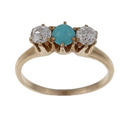 14k Yellow Gold 1/2ct TDW Diamond and Turquoise Estate Ring (J-K, SI1-SI2)