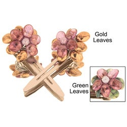 Purple Luster Floral Hair Clips