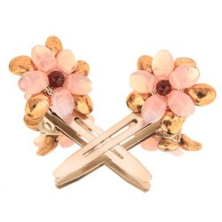 Soft Pink Floral Hair Clips