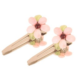 Pink Floral Hair Clips