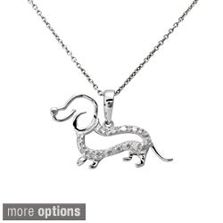 Sterling Silver or Two-tone 1/10ct TDW Diamond Dachshund Dog Necklace