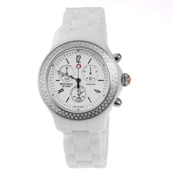 Michele Women's Tahitian White Ceramic Diamond Accent Chronograph Watch