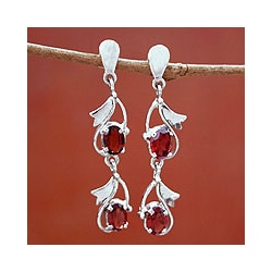 Sterling Silver 'Buds of Passion' Garnet Earrings (India)