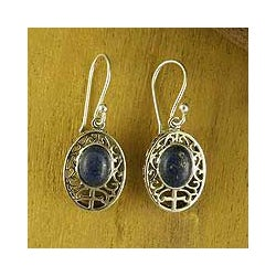 Sterling Silver 'Heirloom Lace' Lapis Lazuli Dangle Earrings (India)