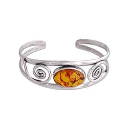 Sterling Silver 'Golden World' Amber Cuff Bracelet (India)