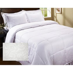 Embossed Scroll Microfiber Down Alternative Comforter Set