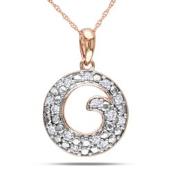 10k Pink Gold 1/6ct TDW Diamond Fashion Necklace (G-H, I2-I3)