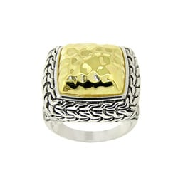 Mondevio Two-tone Sterling Silver Square Ring