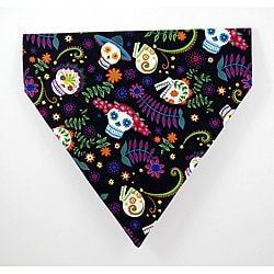 Ruff Stuff USA 'Black Calavera Day of the Dead/Skulls' Dog Collar Bandana