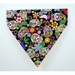 Ruff Stuff USA 'Black Calavera Day of the Dead' Dog Collar Bandana