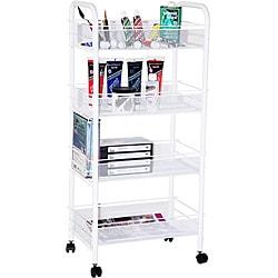 Indigo White Steel Four-shelf Mobile Organizer/Storage Taboret