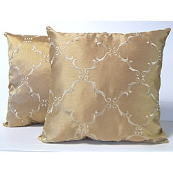 Solstice Gold Diamond Pillows (Set of 2)