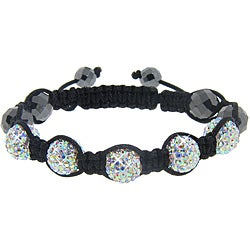 Eternally Haute Hematite and AB Crystal Macrame Bracelet