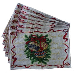 Woven Tapestry Holiday Ornament Place Mats (Set of 6)